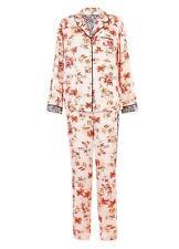 M&S Silky Soft Satin Finish Tropical Print Design Long Sleeve Pyjamas  Size 6-22