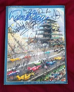 DAVID LETTERMAN SIGNED 2009 INDIANAPOLIS 500 PROGRAM INDY CAR 18 AUTOGRAPHS