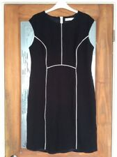 J Lewis Black Pencil Fitted Dress Gracie Cap Short Sleeve Fully Lined Size14 NEW