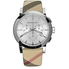Brand New Burberry Men's Swiss Leather Strap Nova Check Chronograph Watch BU9357