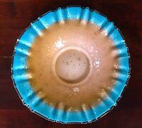 Mt Washington Blue Crest Gold-fleck Spatter Brides Basket Center Bowl Glass