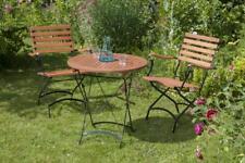 Merxx Gartenmöbel-Set Schlossgarten 3-teilig, Tisch Ø 70 cm Stahl/Eukalyptusholz