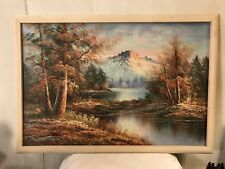 "Vintage Painting On Canvas MountainPeak at Dusk Signed ""F.W.May""12pix.MAKE OFFER"