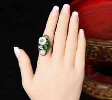 Charming 12mm White Shell Flower Emerald Agate Adjustable Ring