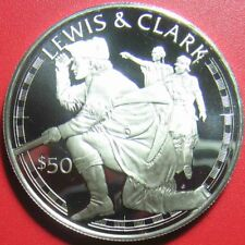 1988 COOK ISLANDS $50 SILVER PROOF LEWIS & CLARK EXPLORERS AMERICAN EXPEDITION