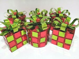 6 Grinch Christmas Ornaments Green Red Presents Gifts Whimsy Home Decor Tree 6PC