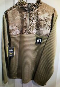 Men's Realtree Wav3x Camouflage, Ultra Quiet 1/4 Zip Pullover, Size 2XL or 3XL