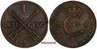 Sweden Carl XIV Johan Copper 1820 1 Skilling  KEY DATE VF SCARCE KM# 597(17 853)