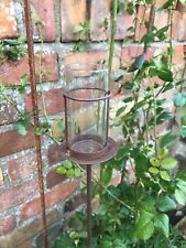 1 Garden Tea Light Holder Brown 1m Rust Metal Stake Outdoor Glass Candle Lantern