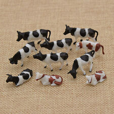 10 Pcs 1 87 Scale Painted Farm Animals Scale Model Cows for Model Railway