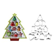 10pcs/set Stainless Steel Cookie Cutter Christmas Tree Sock Mold Biscuit Cutters