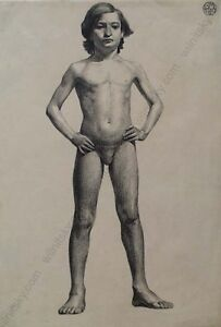 """""""Male Nude (Academical Drawing)"""", Continental School, 1909"""