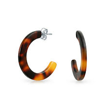 Bling Jewelry Acrylic Tortoise Shell Half Hoop Steel Earrings 1 Inch