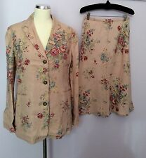 BRAND NEW BODEN PINK FLORAL PRINT LINEN SKIRT AND JACKET SUIT SIZE 12 8d6db29a4929d