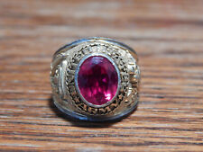 Two Tone Red Ruby United States Army Ring Sz 10