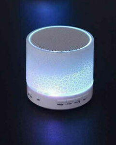 Mini Bluetooth Lautsprecher mit Radio Licht Freisprechen für Handy Reekin weiß
