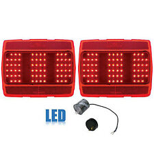 1964-1966 Ford Mustang Red Rear LED Tail Brake Light Lamp Lenses & Flasher Pair