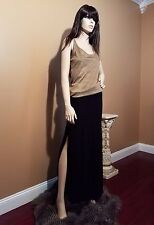 A.B.S. Designer Long Black Skirt with Slits, US 8