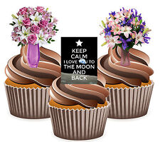 Keep Calm I Love You To The Moon And Back Flower Mix 12 Edible Cup Cake Toppers