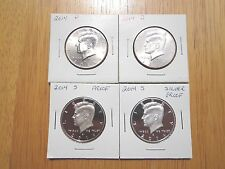 2014 P D S S Silver & Clad Proof Kennedy Half Dollar 4 Coin Lot Set PDSS