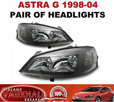 VAUXHALL ASTRA G MK4 1998-04 GSI SXI SRI PAIR OF BLACK HEADLIGHTS HEADLAMPS NEW
