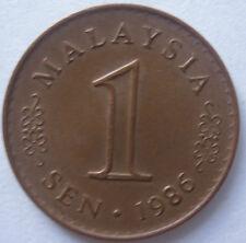 Malaysia 1 sen 1986 coin with extra metal