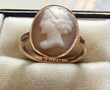 Precioso Calidad Damas Antigua Chester distintivos sólido 9ct Oro Rosa Anillo Camafeo S