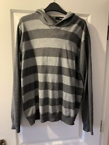 Next Mens Hoodie - Grey Striped - Size Large