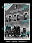 OLD LARGE HISTORIC PHOTO OF FIELDING FIRE BRIGADE STATION, 1910 NEW ZEALAND