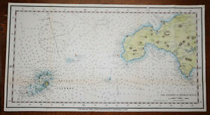 1922 Map Lizard to Bishop Rock Cornwall Scilly Isles Hand Coloured Map Scarce