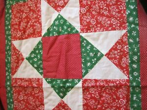 "Handmade Quilted Christmas Table Runner 43""x17"""