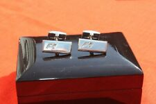 GENUINE STERLING SILVER FORMULA ONE RECTANGULAR T BAR CUFF LINKS - GIFT BOXED
