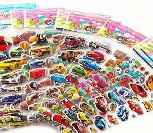 5 Sheets Fun Cartoon Cars Buses Trucks Airplane 3D Stickers Kids Crafts Rewards