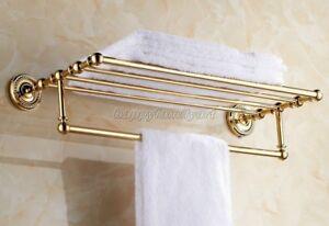 Gold Brass Towel Bar Rail Rack Holder Shelf Rod Bathroom Wall Mounted yba601