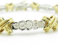 """14k Two Tone Gold & Diamonds Hugs & Kiss Design Tennis Bracelet 2.24 ct G-VS1 7"""""""