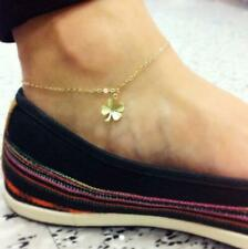 Leaf Design Tiny Pendant Women's Anklets 925 Solid Gold Finish Silver Clover