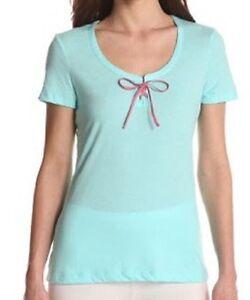 """Nautica Sleepwear Pajama Top Sz S Tidal Wave Light Blue """"Castawy"""" Sleep Shirt"""