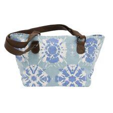 Women Small Tote Bag Bohemian Purse Blue Canvas Shoulder Handbag Leather Straps