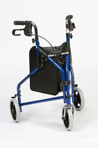 Lightweight Folding Steel Tri Walker Height Adjustable Brakes - Blue or Red