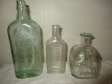 LOT OF 3 VINTAGE GLASS BOTTLES SQUARE PATRON, WATKINS, ANTIQUE BLUE / GREEN