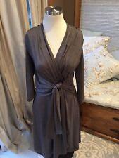 London Times Heather Mocha Brown V Neck Tie Waist Stretch Dress 8 Excellent