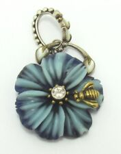 Echo of the Dreamer Sterling w/ Bronze Delphinium Flower Bee Pendant
