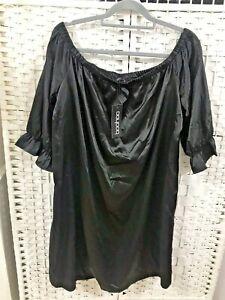 Boohoo Plus Women Mia Satin Off The Shoulder Ruffle Sleeve Black Dress UK 22 NWT