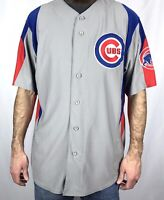 Chicago Cubs Baseball Jersey Mens Size L Large MLB Majestic Button Up