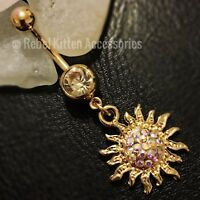 Sparkle Dangle Gold Sun Boho  Belly Button Ring Piercing Body Jewelry Barbell