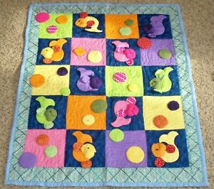 OOAK Handmade Baby Quilt Blanket Quilted Hand Sewn 3D Fish Bubbles Interactive