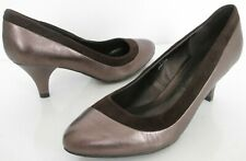 NEW M&S FOOTGLOVE WIDER FIT SIZE 3.5 WOMENS BROWN BRONZE COURT SHOES HEELS