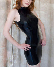 Sexy Latex Rubber Sleeveless Dresses For Women With Back Zipper Party Wear