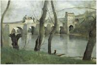 The Bridge Mantes by Jean Baptiste Corot, 22x32-Inch Canvas Wrapped Wall Art