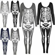 Women Sexy Skull Skeleton Jumpsuit Dress Ladies Adult Halloween Womens Costume